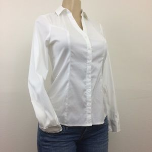 Express Shirt XS Stretch White Long Slav Button Up